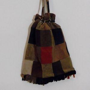 Vintage 70s patchwork suede leather drawstring bag